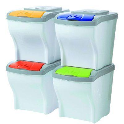 Cubos de basura apilables para reciclaje