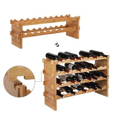 Botellero de vino de bambú