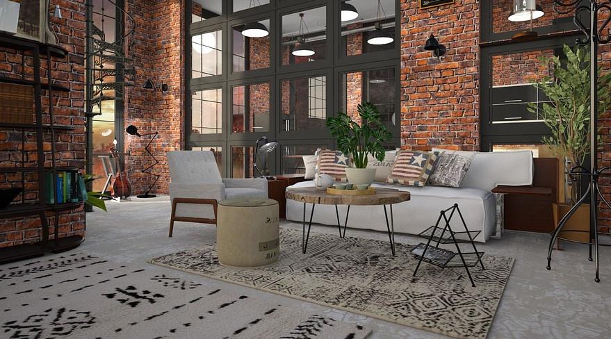 Mesas industriales en decoración de un loft