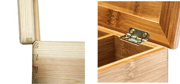 Detalle de la tapa en las cajas de madera y bambú